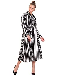 3020b1c603 DIMPY GARMENTS BuyNewTrend Multicolor Imported Crepe Striped Long-Maxi Dress  for Women