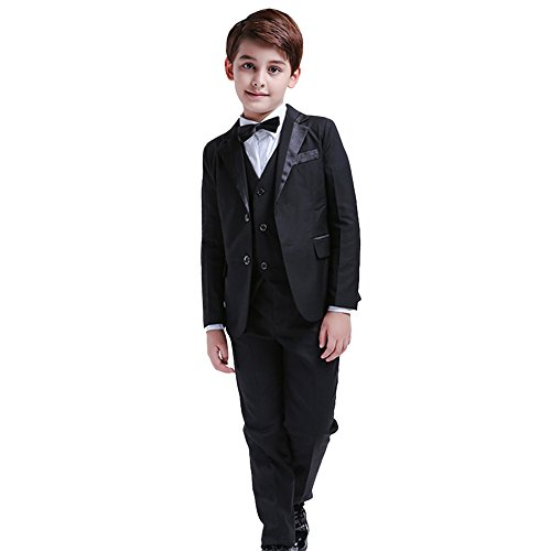 LOLANTA 5Pcs Boys Suits Formal Blazer Tuxedo Set Party Black Coat Suit (3-4 Years)