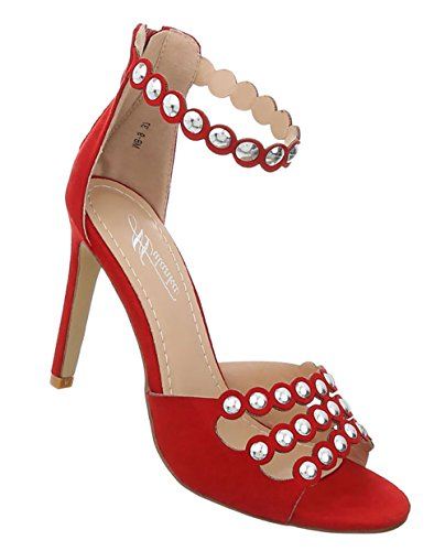 Damen Schuhe Sandaletten Nieten Besetzte High Heels Pumps Rot 37
