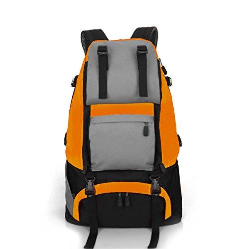 LQABW Viaggi Tempo Libero Sport Escursionismo Zaino Grande Capacità All'aperto Daypack 36-55L,Green Orange