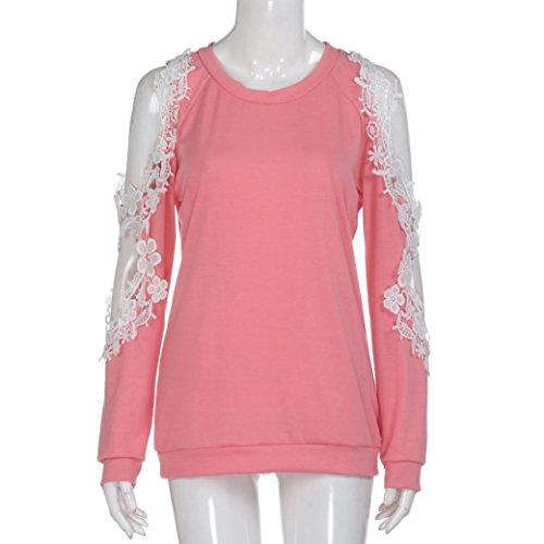 Oyedens Femmes hors Epaule Dentelle Tops Blouse à Manches Longues Casual Shirt Chemise Femme Chic Blouse Femme Soiree Pull Femme Vetement Femme Pas Cher Chemisier Femme Fille Rose