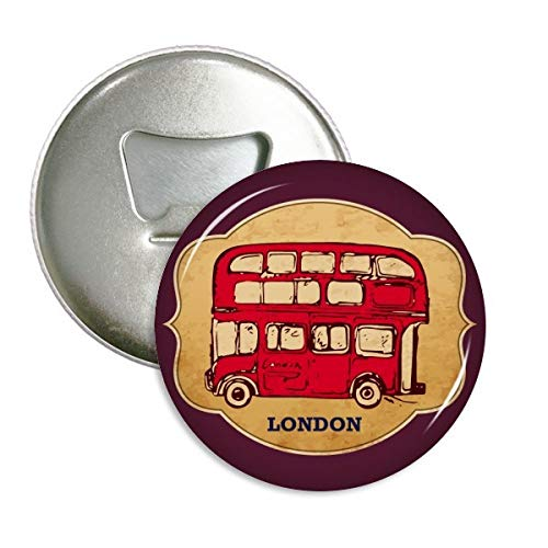 UK London Red Double-Decker Bus Stamp Round Bottle Opener Refrigerator Magnet Badge Button 3pcs Gift