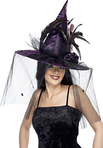 Smiffys Damen Hexen Hut mit Federn und Netz, One Size, Violett, 34924