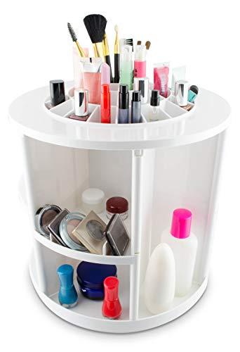 Grinscard Kosmetik Organizer Drehbar - Weiß 32 x 30 x 30 cm - Kosmetikständer Make-up Aufbewahrung & Präsentation