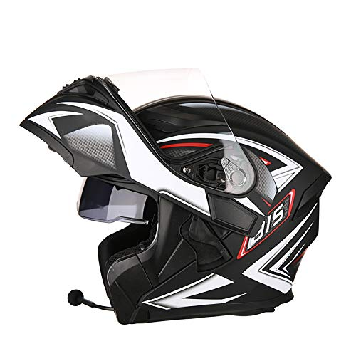 WEGCJU Casco Cascos De Moto Cascos Abatibles Moto Casco De Cara Completa Doble Visera De Sol Auriculares Bluetooth De Motocrós Cascos Protectores,A-XXL