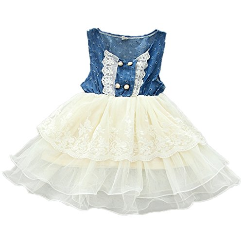 Allouli Infant Kid Girls Jean Sleeveless Lace Tutu Tank Dress Clothes