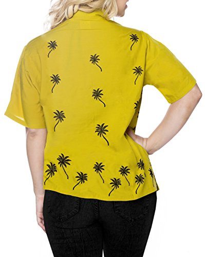 La Leela Bademoden Shirt Hawaiische Frauen Lager Aloha Bluse obersten Knopf Unten Partei l�Ssige Kurzarm Senf Mandel