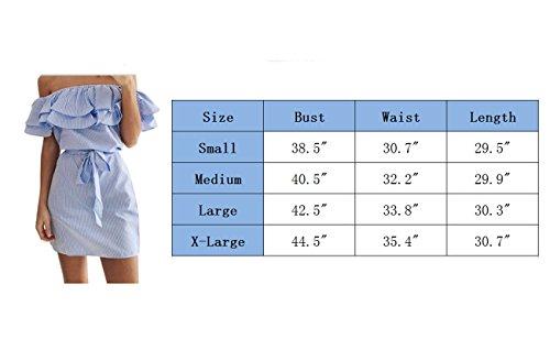 Lepparel damen aus Schulter gestreiften Rüschen Mini Kleid Sommer Pinstriped kurze Kleider Blue