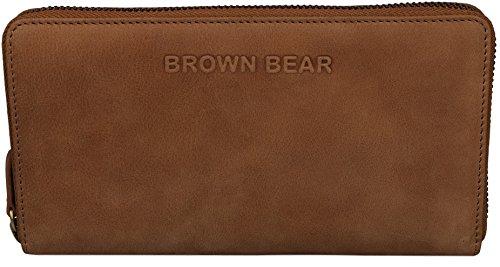 Brown Bear Geldbörse Damen Leder vintage Reißverschluss Conny w