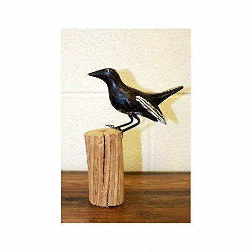 Art oiseaux jardin en bois sculpté Hauteur : 19 cm-Profondeur : 15 cm-Diamètre : 5 cm-Le cadeau Parfait-Idéal pour les anniversaires, Christmas......