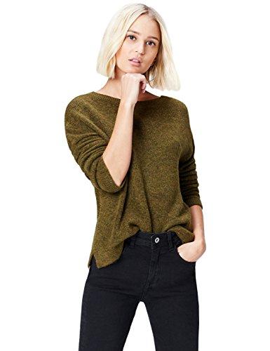 find. Pullover Damen meliert, gerippt, mit rundem Ausschnitt und tiefem V-Ausschnitt auf dem Rücken, Braun (Khaki), 34 (Herstellergröße: X-Small) -