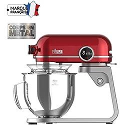 Faure FKM-804MP1 Robot Pâtissier Magic Baker Premiuim - 800W transmission directe -Mouvement Planétaire - Bol Inox 5,2L - Coloris Rouge