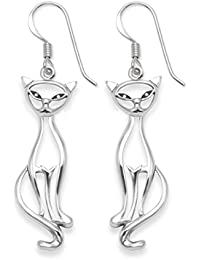 Heather Needham Sterling Silver Cat Earrings - Open design - SIZE: 22mm Gift boxed 6014.