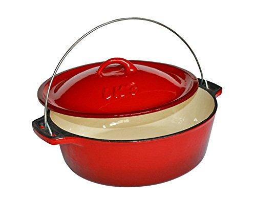 LK´s Dutch Oven Bake Pot Größe #12 5,0 Liter emailliert rot/beige