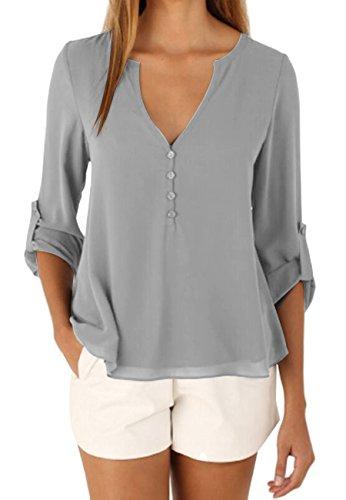 OMZIN Damen Einfarbig Chiffon Tops Bluse Damen Lose Langarm V-Ausschnitt Knöpfe Decor Asymmetrisch Shirts Tops Grau XL