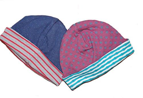 1-2 er Pack Baby Mütze Wendemütze 100% Bio-Baumwolle Kinder Jungen Mädchen Gr. 62/68 bis 86/92 (62/68, dunkelblau) (Organic Unisex-baby Beanie)