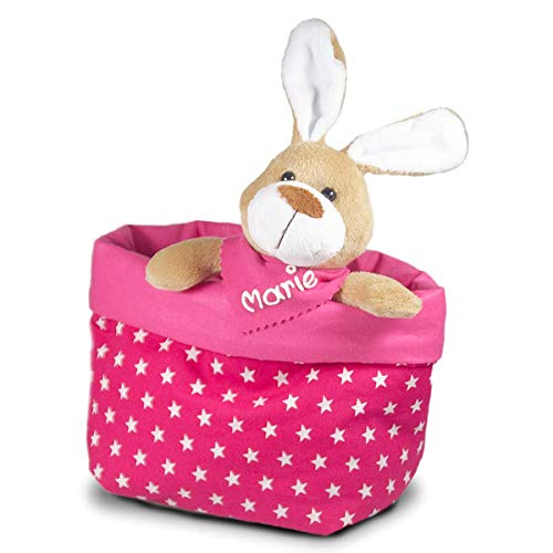enk pink, Osterhase mit Namenstuch und Osternest, Kuscheltier und Osterkorb, Geschenke für Mädchen, Mädchen Geschenke ()