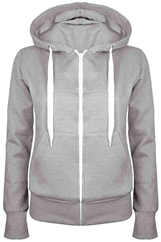 Lace Front-reißverschluss (Oops Outlet Damen Uni Hoody Mädchen Zip Top Damen Hoodies Sweatshirt Coat Plus Größe 6–24 Gr. XS (32 ), grau)