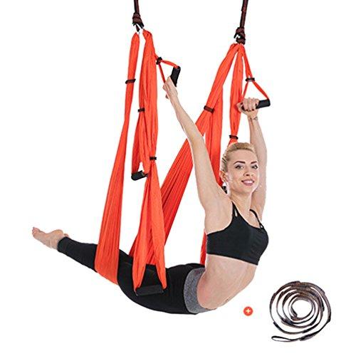 Yuanu multifunzione yoga amaca/altalena/sedia sospesa, aereo yoga inversione fitness esercizio hammock per casa arancione taglia unica