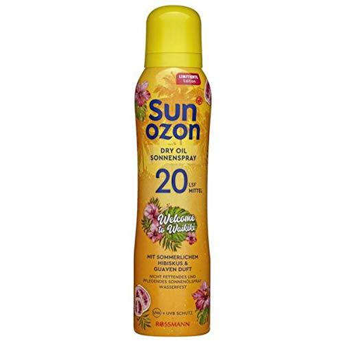 Rossmann Sun Ozon Dry Oil Sonnenspray LSF 20 Mittel Limited Edition: Welcome to Waikiki mit sommerlichem Hibiskus & Guaven Duft Inhalt: 150ml Sonnenspray