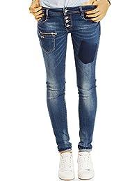 Bestyledberlin pantalon en jean femme, jean slim fit taille basse j37k