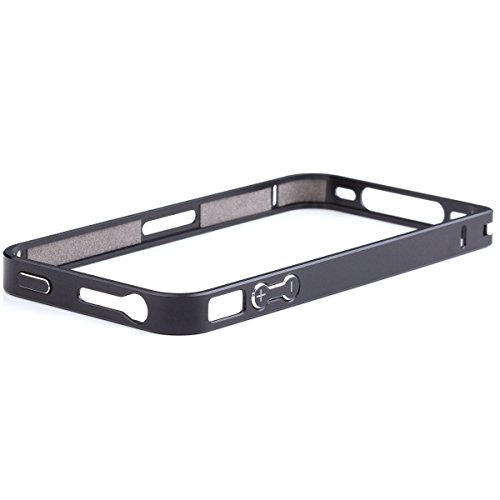 iCues Apple iPhone 4/4S |  Alu Bumper Clip Pink | [Display Schutzfolie Inklusive] CNC Aluminium Metall Metallic Rahmen Case Hülle Schutzhülle Alubumper Plain Black