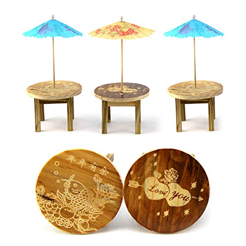 WopenJucy 1 Set Miniature Fairy Garden Mini Wooden Furniture Set Table Chairs Random Color