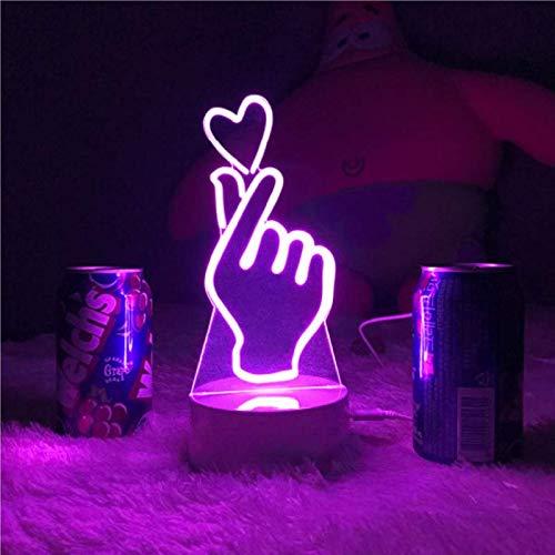 TSLJH Dedo Corazón Lámpara Acrílica LED 7 Colores Decoración del Hogar Lámpara De Mesa De Luz Nocturna K-Pop
