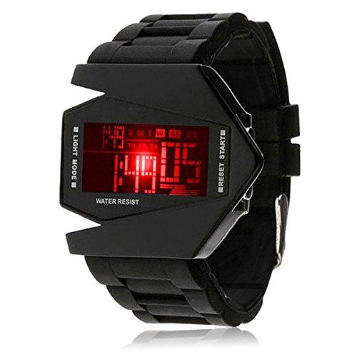 Silikon LED LCD Uhr Digital Armbanduhr Herren Damen Fliegeruhr Camouflage Militär Military Trend Gummi Unisex Sport schwarz