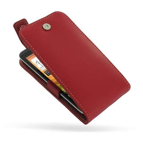 PDair Handarbeit Leder Flip Top Hülle for HTC EVO 4G LTE (Red) (Otter Box Htc Lte)