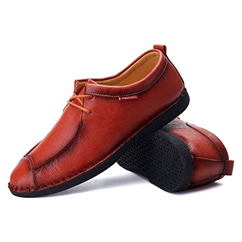 Men's Designer Leather Breathable Oxfords Shoes 188 orange