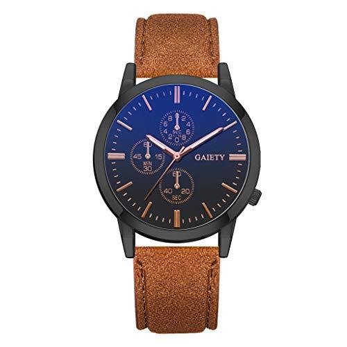 Huacat Herren Analog Uhr Mechanische Automatikwerk mit Gewölbtes Glas Kalender Armbanduhren Herrenuhr - Kaffee-pakete Individuelle