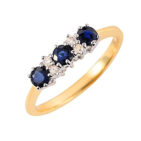 Ivy Gems 9ct Yellow Gold and White Gold Light Sapphire and Diamond Trilogy Ring - Size M