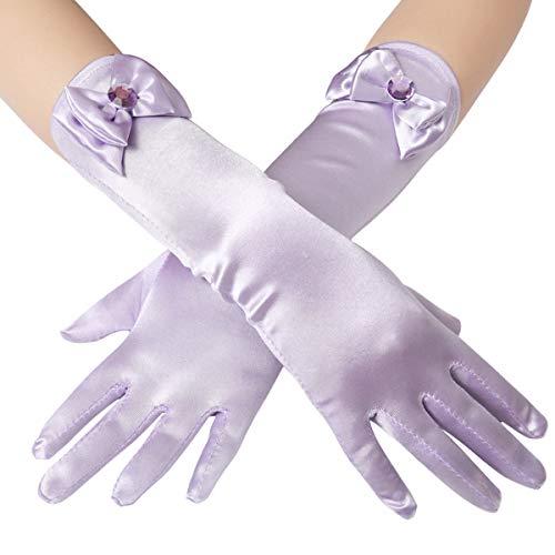 Coucoland Mädchen Satin Handschuhe mit Schleife klassisch Hochzeitskleid Prinzessin Handschuhe Mädchen Fasching Kostüm Accessoires (Lila)