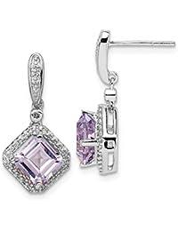 e726c102c3f9 Pendientes colgantes de plata de ley 925 con diamante y cuarzo rosa para  mujer