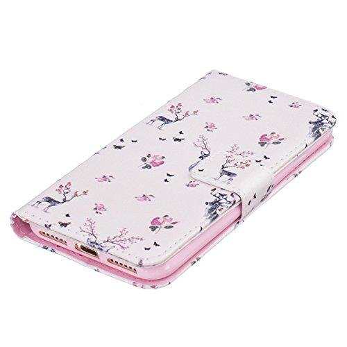 WYSTORE Apple iphone 7 coque , PU cuir flip housse Étui Cover Case Wallet Stand avec Carte de Crédit Fentes pour ,Protection Anti Rayure Anti Choc Résistante Fashion - plume cerf