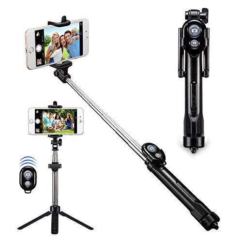 Palo Selfie, Alfort Bluetooth Selfie Stick Trípode Wireless Multifuncional Extensible Mini en Plegado Selfie Stick con Obturador Remoto Bluetooth para iPhone 8 / 7 / 7 Plus / Samsung A7 / S7 / S7 Edge / Huawei P10 / P9 / P9 Lite Sony Xperia XZ Premium/ Xiaomi 6 y Otros Android Teléfono 5.5 ' o de Menor ( Negro )