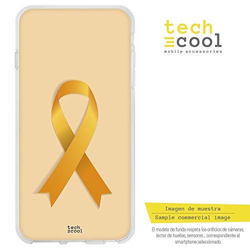 Funnytech iPhone 6 Plus / 6S Plus Hülle SchutzHülle Soft TPU Silikon Transparent für iPhone 6 Plus / 6S Plus l Case, Cover, Handy, High Definition Druck [Lazo Naranja Fondo Naranja]