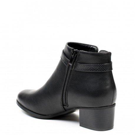 Ideal Shoes - Bottines en similicuir avec sangle Dilana Noir