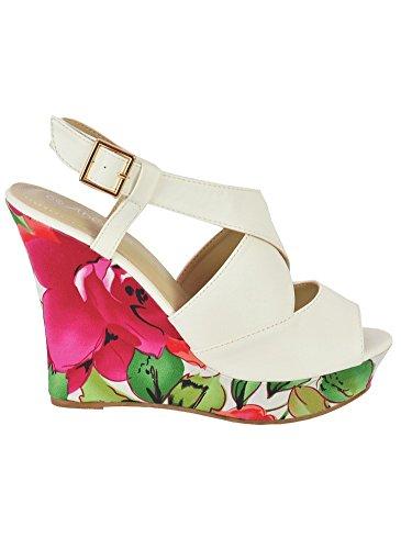 Sandales Compensées Fleuries Blanc Blanc