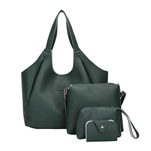 Tasche, Voberry Frauen vier Set Handtasche Schultertaschen vier Stücke Tote Bag Crossbody Wallet Grün