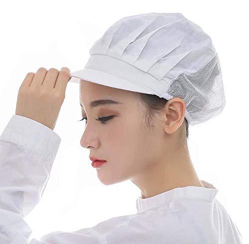�ck Chef hat Kochen Hut Staubmütze Arbeitshut Industrie Werkstatt Hälfte Mesh atmungsaktiv Hut Kappe CF9033 (One Size, Weiß) ()