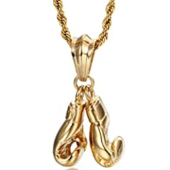 Idea Regalo - Yowell, Collana placcata in oro con coppia di ciondoli a forma di guanti da boxe, per uomo