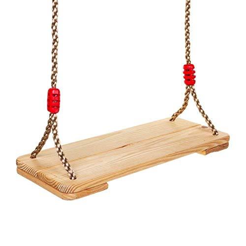 Dripex Holz Schaukel Gartenschaukel für Erwachsene Kinder mit Einstellbares Seil, Indoor und Outdoor Schaukelsitz Brettschaukel bis 80kg (Holzfarbe)