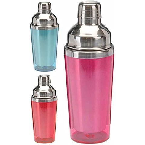 Cocktail Shaker/Mixer per Cocktail in acciaio inox rivestiti anti-congelamento in plastica colorata, 500ml Pink