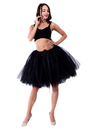 Honeystore Damen's Vintage Tüllrock Prinzessin Falten Rock Tutu Petticoat Ballettrock Unterrock Pettiskirt One Size Schwarz