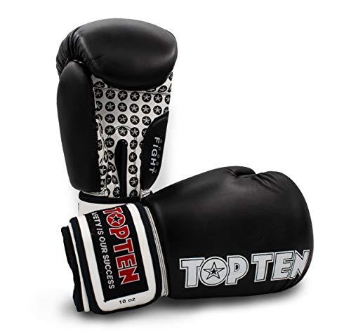 TOP Ten Boxhandschuhe Fight - 10 12 16 Oz - schwarz rot blau grün orange Kickboxen UVM. schwarz/weiß 12Oz (Top-10-boxhandschuhe)