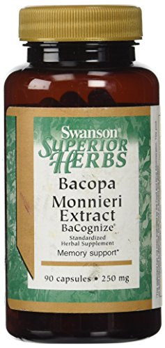 Swanson - Extracto de Bacopa Monnieri (Brahmi) 250mg, 90 Cápsulas - BaCognize® Estandarizados 12% Glicósidos Bacopa - Soporte de Memoria (Bacopa Monnieri Extract Capsules - Superior Herbs)