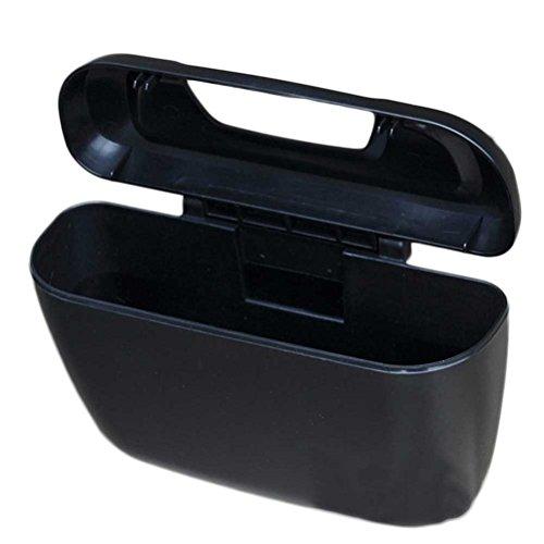 WINOMO Accrocher la voiture Auto poubelle Universal Voyager poubelle de voiture avec couvercle de voiture Sac de rangement arrière siège organisateur (Noir)