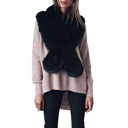 Damen Winter Kunstpelz Schal,FORH Warm Kunstfell Kragen Pelzkragen Shawl Stole Mode Stil Nachahmung pelz Schal (schwarz) (Lange Schal Kragen)